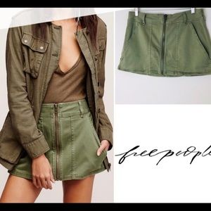 Free People 'Too Cool Skirt' Olive Green